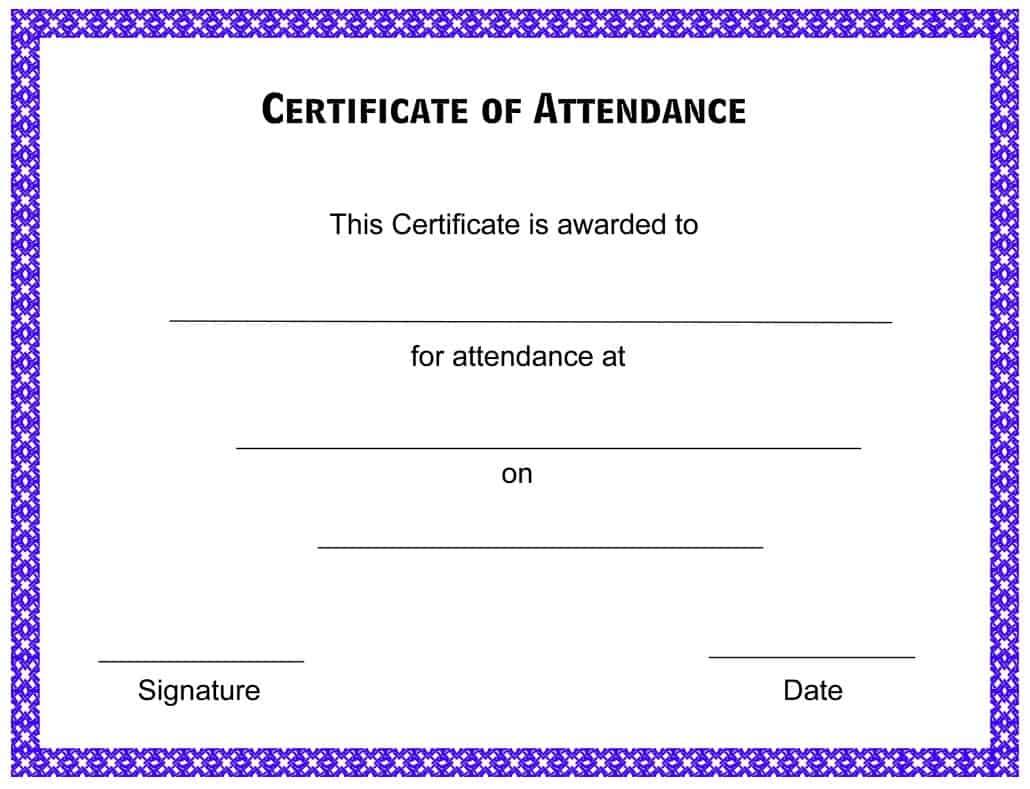 Certificate Of Attendance Templates