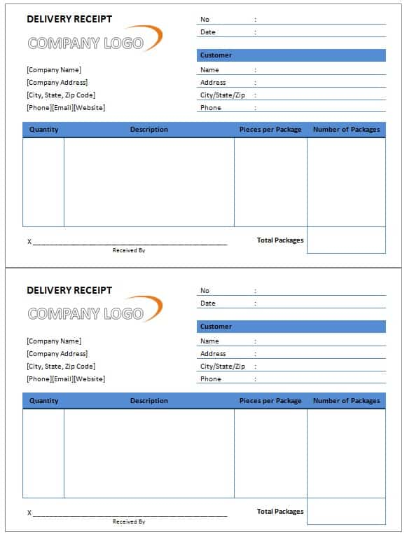 Delivery Receipt Template - Free Formats Excel Word