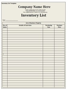Inventory List Template - Free Formats Excel Word