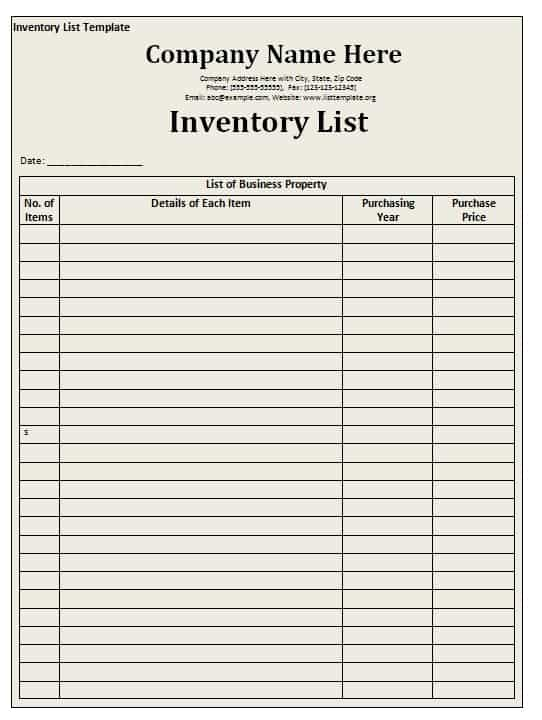 Inventory List Template Free Formats Excel Word – Excel Inventory List Template
