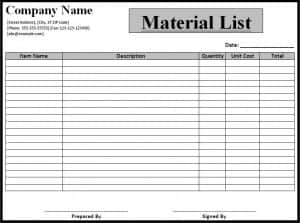 Material list template free formats excel word for Material list for building a house spreadsheet