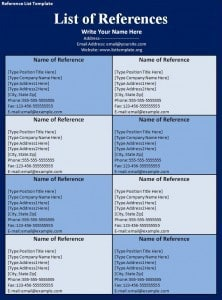 Reference List Template - Free Formats Excel Word
