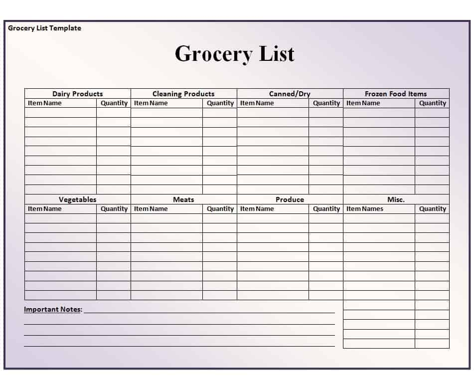 free printable grocery list template excel word