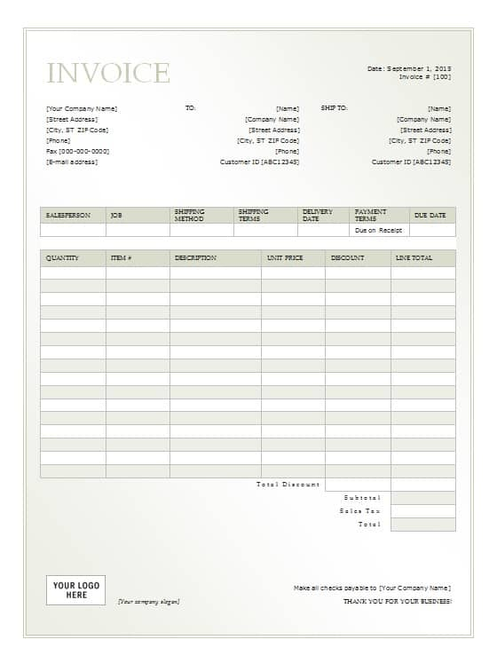 Rental Invoice Template Free Formats Excel Word – Rental Receipts Templates