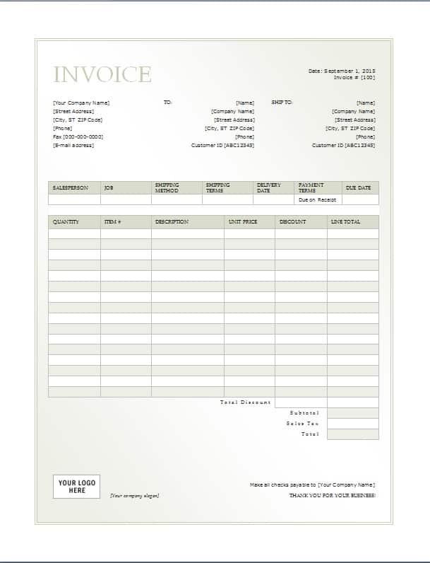 Zip Cash Invoice. Modern Minimalist Invoice Template Word 19 Blank