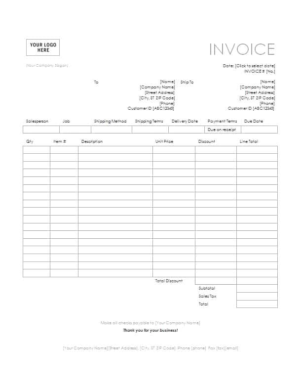 Tax Invoice Template Free Formats Excel Word – Manual Receipt Template