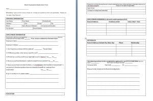 blank employment application form template