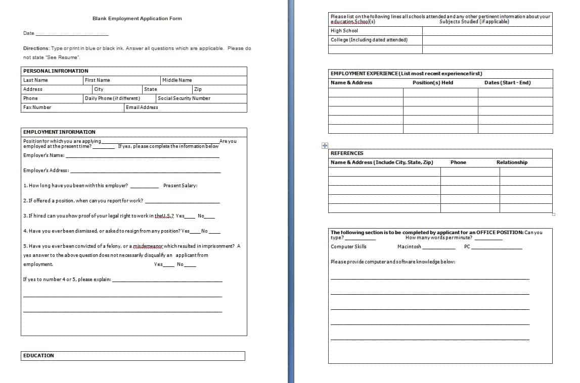Blank Employment Application Form - Free Formats Excel Word