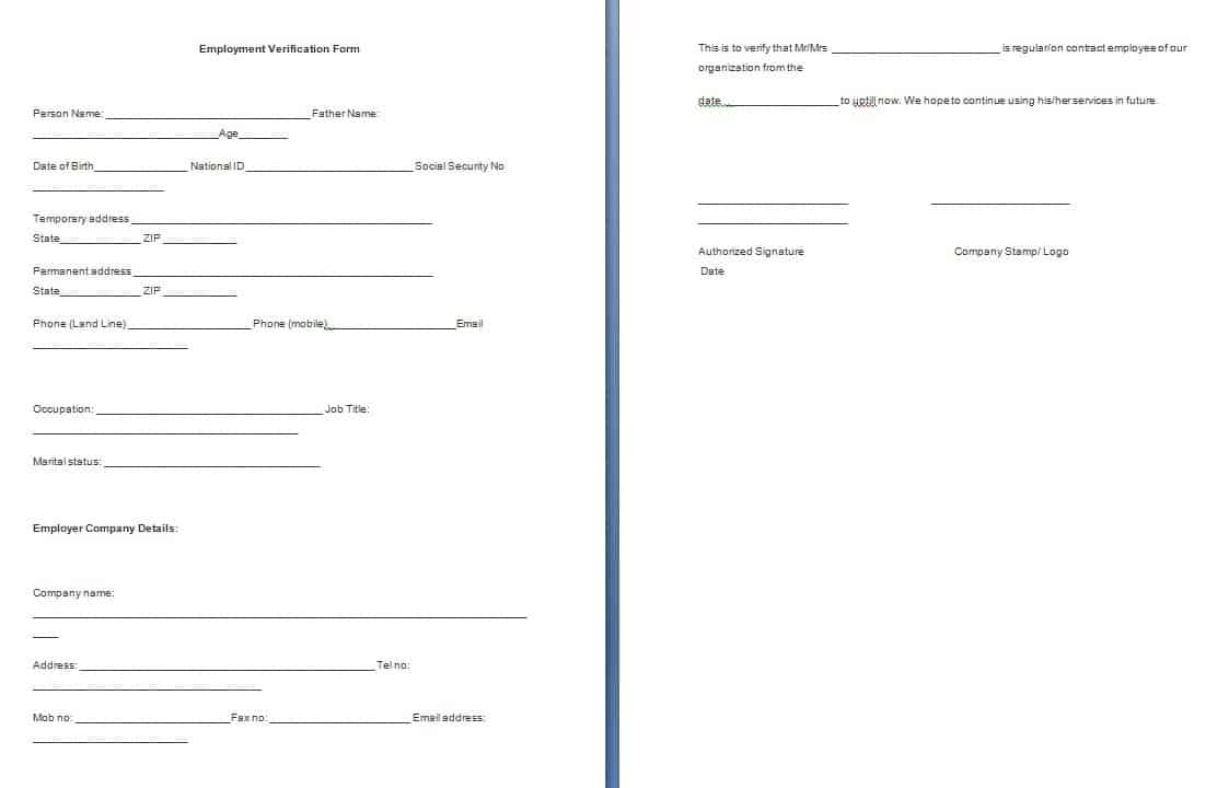 Employment Verification Form Template - Free Formats Excel Word