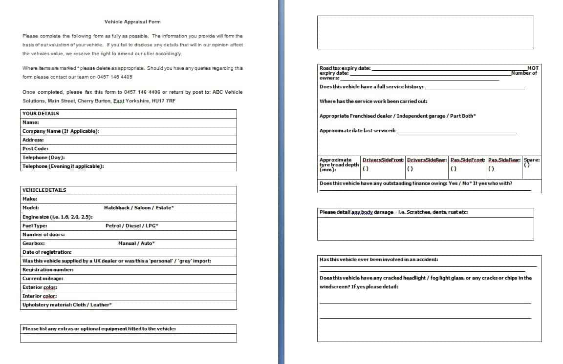 Vehicle Appraisal Form Free Formats Excel Word – Appraisal Template Word