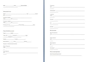 Physical Assessment Form Template