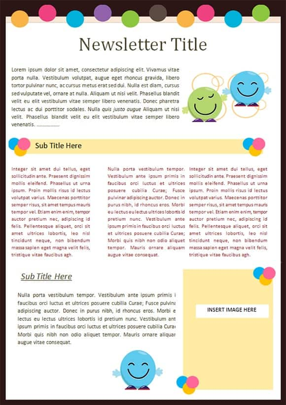 Kindergarten Newsletter Templates - Free Formats Excel Word