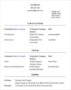 acting resume templates free formats excel word