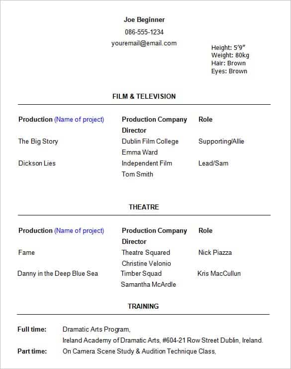 beginner acting resume template word templates doc