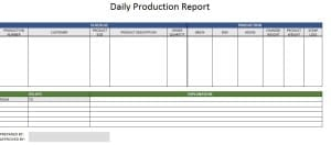 production reporting templates