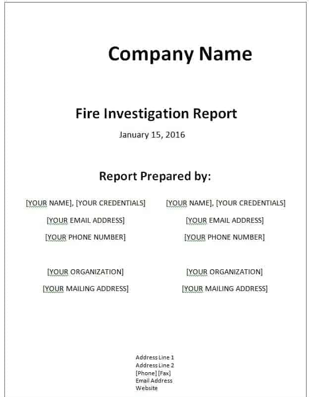 Sample Company Report. Investigation Report Template Investigation