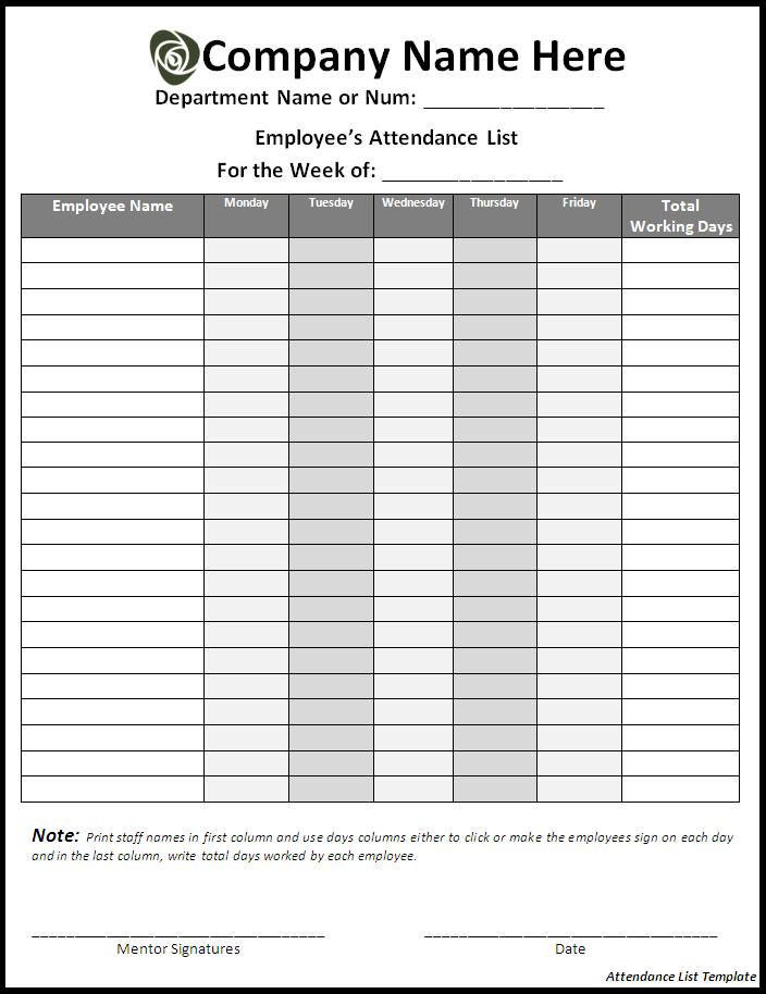 Employees List Template from www.samplestemplates.org