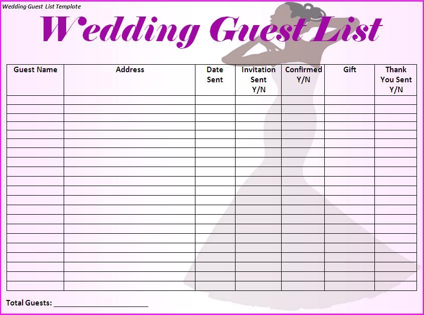 Wedding Guest List Template Free