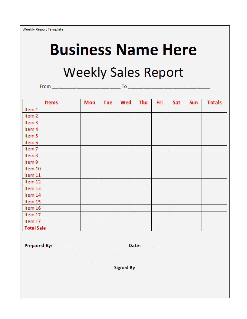 Weekly Report template - Free Formats Excel Word