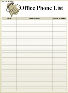 Phone List Template - Free Formats Excel Word