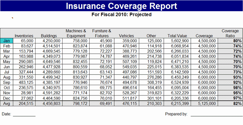 insurance coverage report template