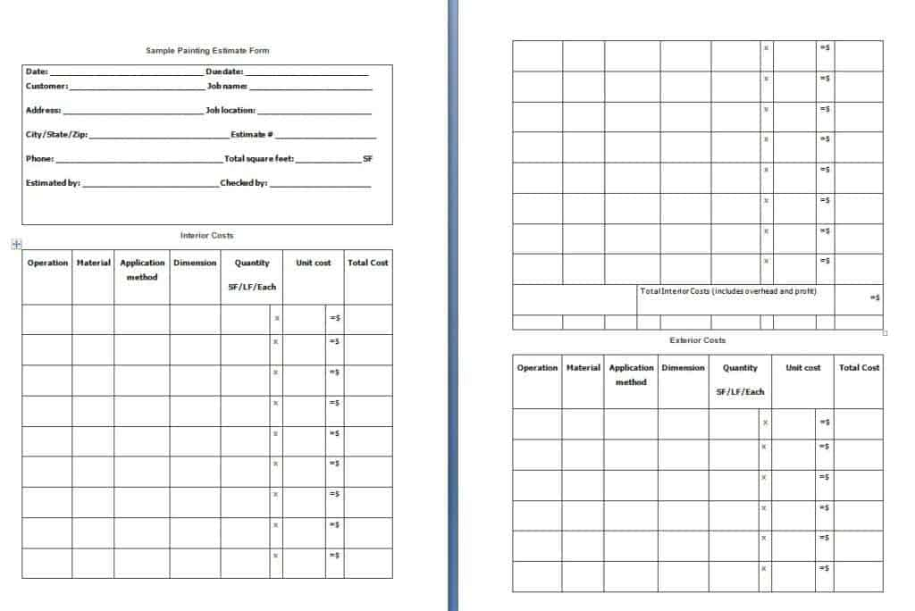 painting estimate form template free formats excel word