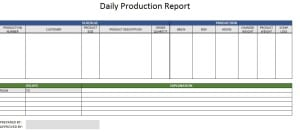 Production Report Template Sample Templates