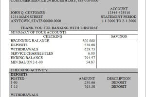 Bank statement templates